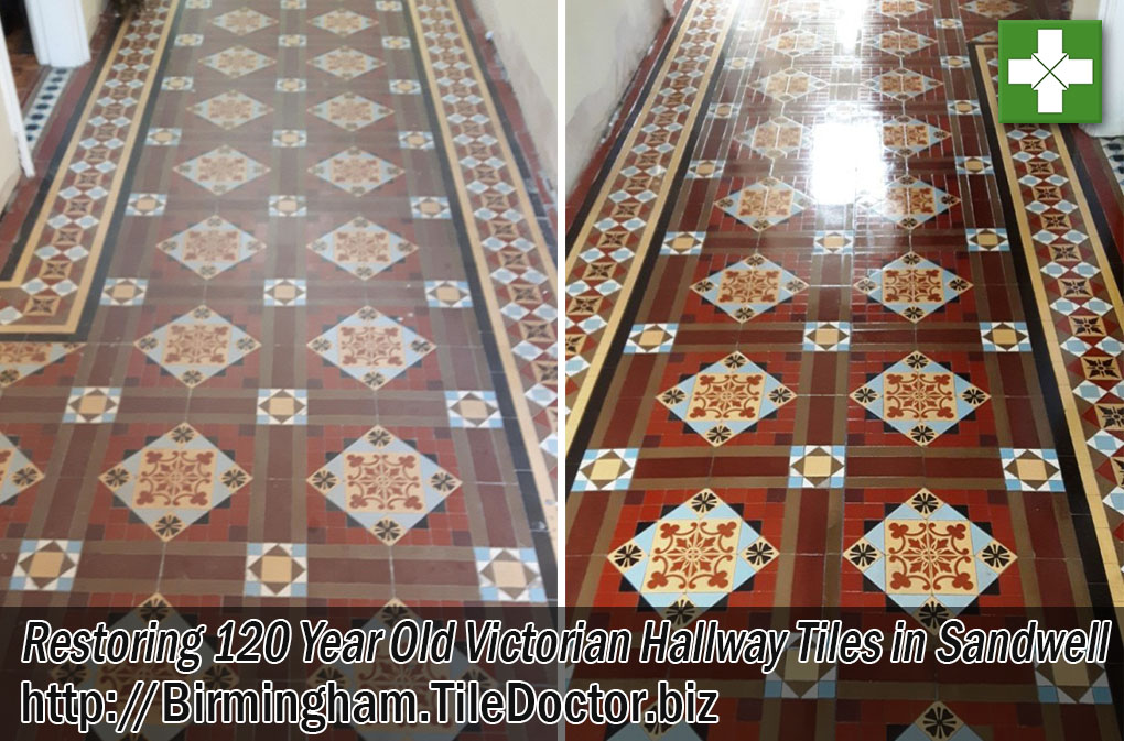 Victorian Tiled Chruch Floor Before and After Renovation in Sandwell