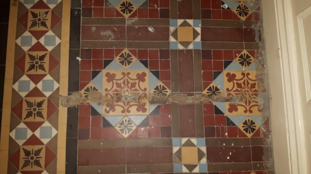 Victorian Tiled Floor Before Renovation Warley