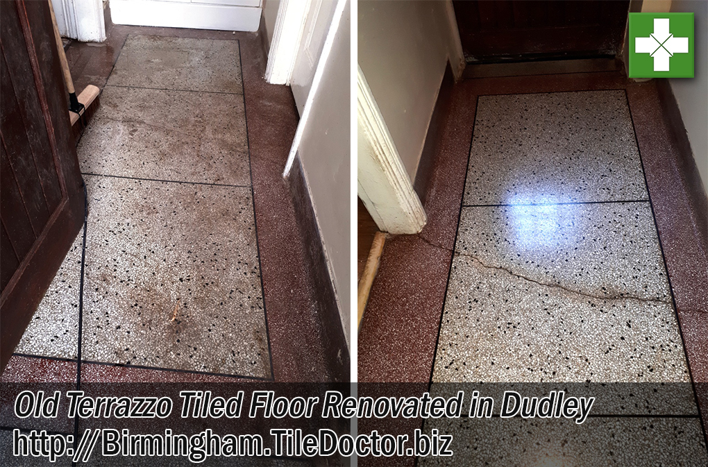 Terrazzo Tiled Floor Before and After Renovation Dudley