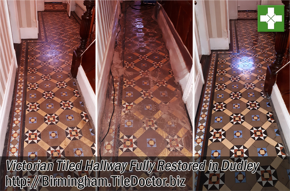 Victorian Tiled Hallway Before and After Restoration Dudley