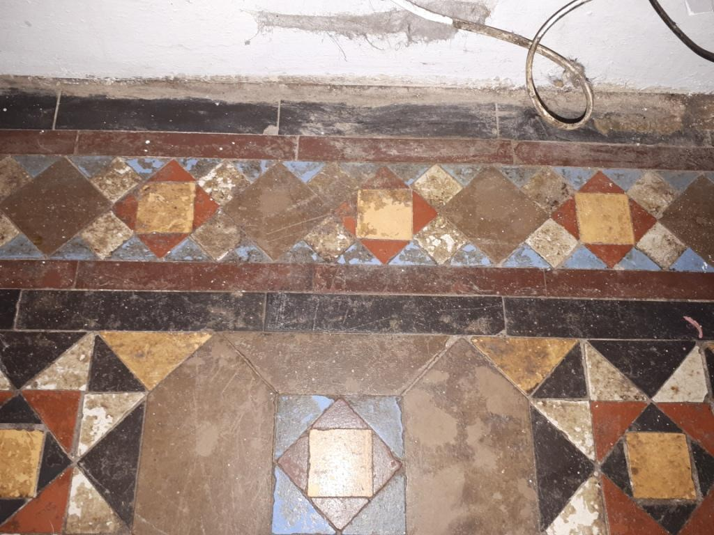 Victorian Tiled Hallway Floor Before Cleaning Dudley