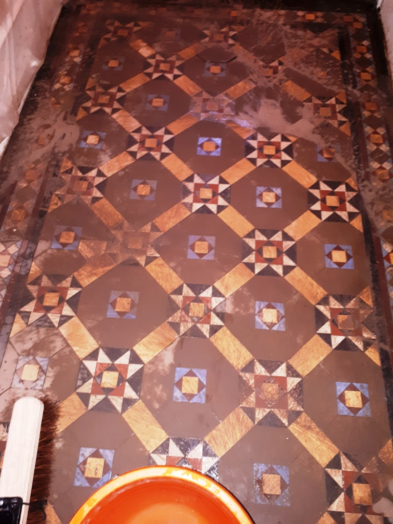 Victorian Tiled Hallway Floor During Cleaning Dudley