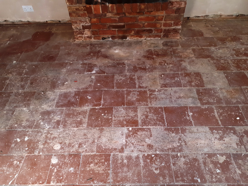 Quarry Tiled Floor Before Restoration Rednal