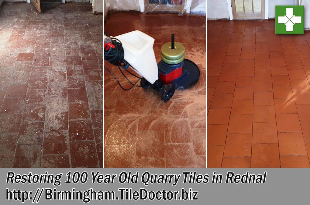 Quarry Tiled Floor Before and After Restoration Rednal