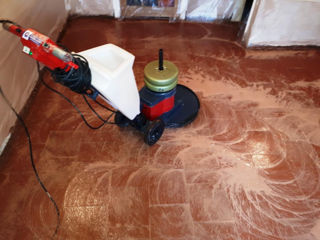 Quarry Tiled Floor During Restoration Rednal
