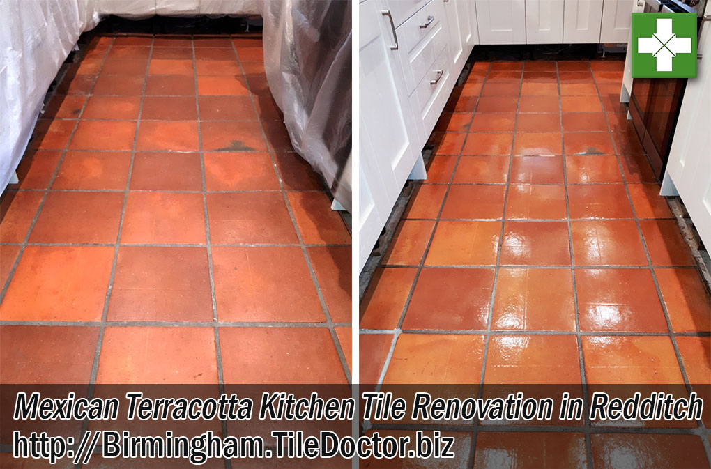 Mexican Terracotta Tiled Floor Before After Cleaning Redditch