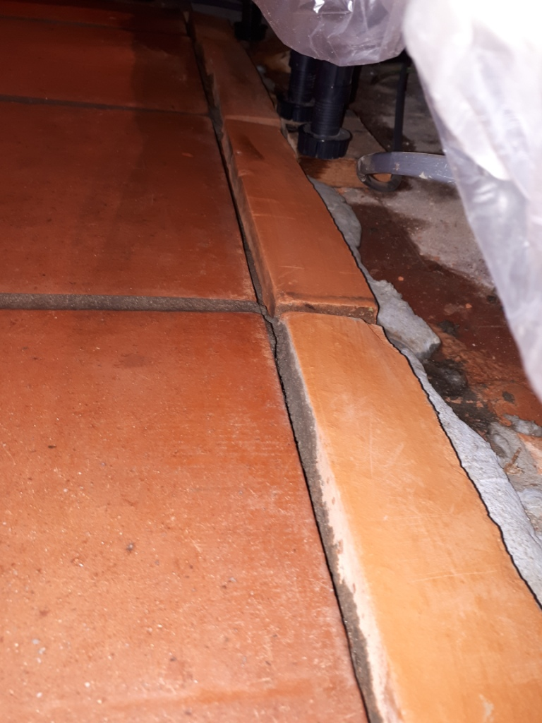 Mexican Terracotta Tiles Before Grout Cleaning Redditch