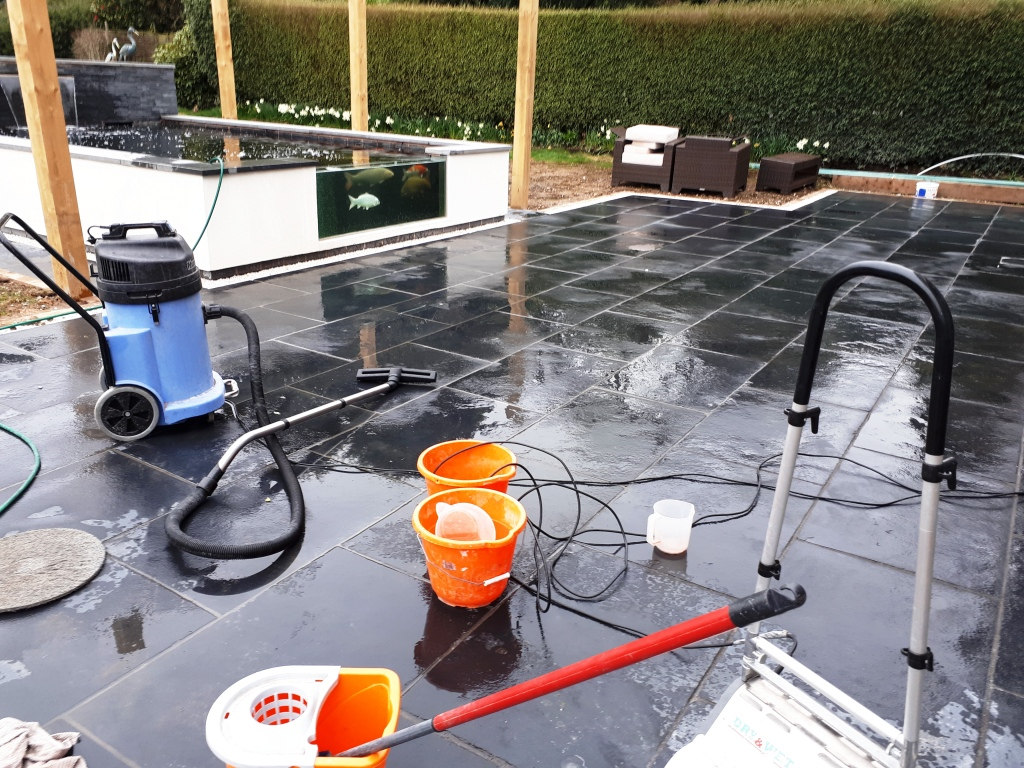 Acid Damaged Black Limestone Patio During Cleaning Bromsgrove