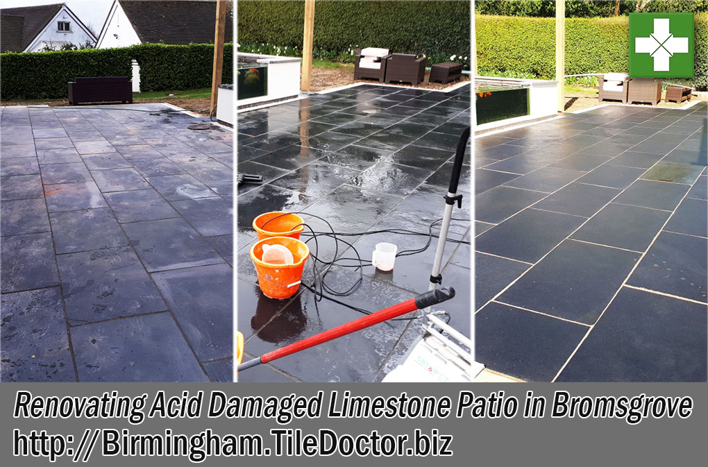 Limestone Tiled Patio Before and After Restoration Bromsgrove