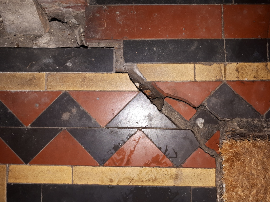 Victorian Tiled Hallway Before Restoration Darlaston