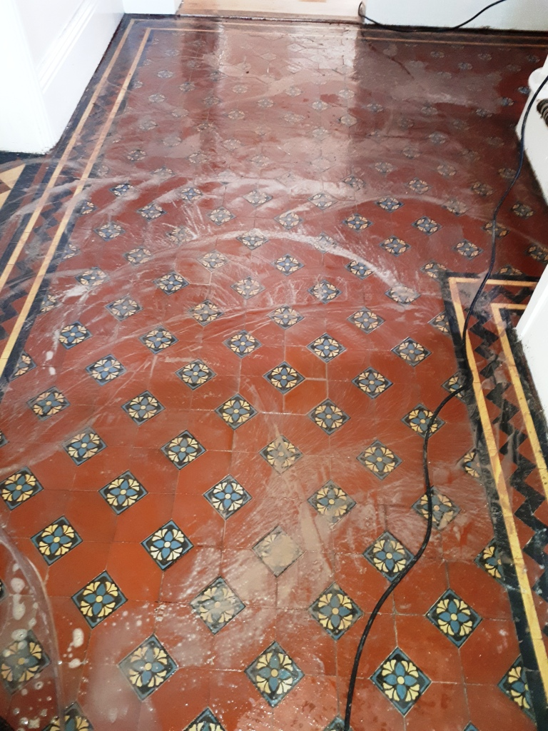 Victorian Tiled Hallway During Cleaning Darlaston