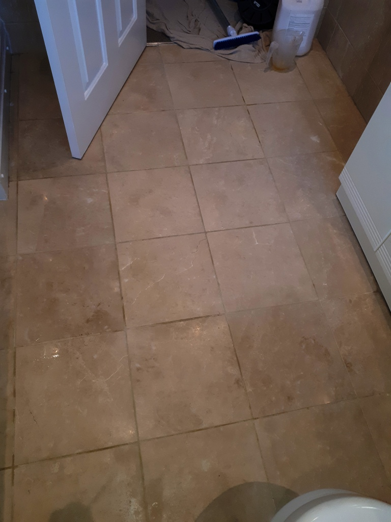 Marble Tiled Bathroom Floor Before Cleaning Brownhills Walsall