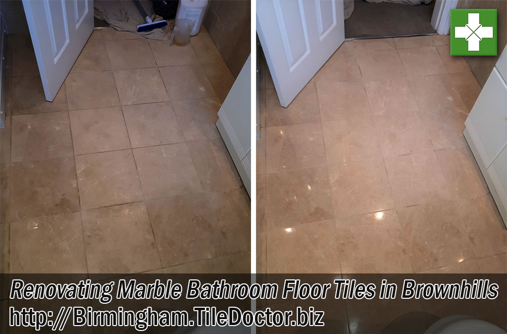 Marble Tiled Marble Floor Before and After Polishing Brownhills
