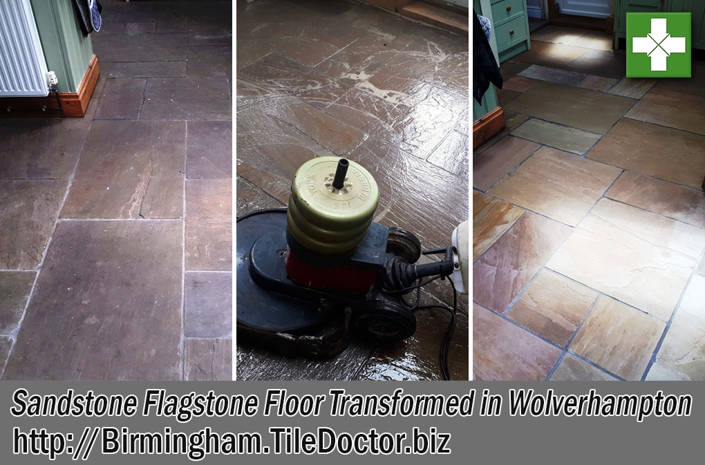 Sandstone Flagstone Floor Before and After Renovation Wolverhampton