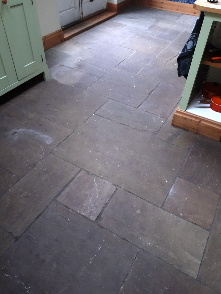 Sandstone Floor Before Cleaning Wolverhampton