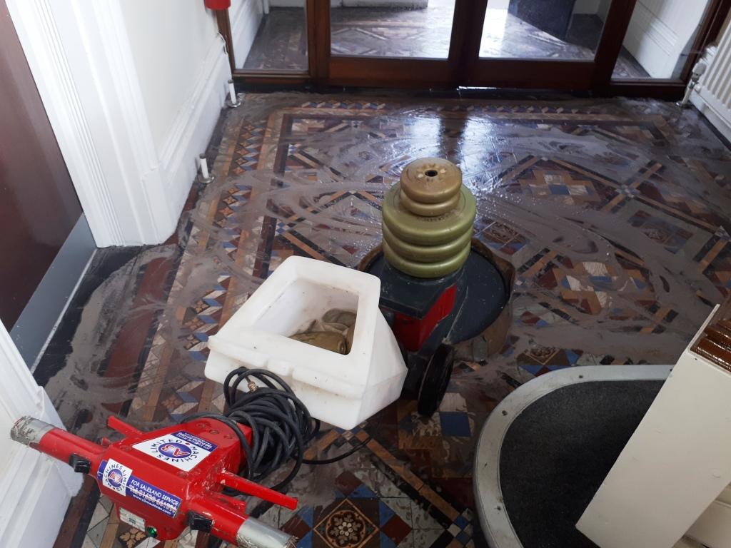 Victorian Tiled Hallway Tipton During Restoration
