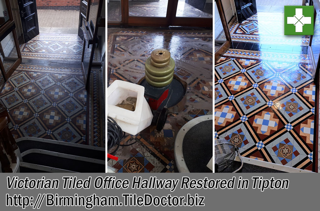 Victorian Tiled Office Hallway Floor Before After Restoration Tipton