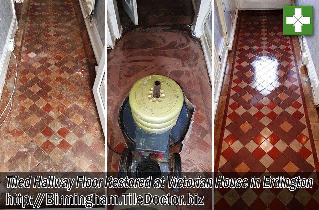 Victorian Tiled Hallway Floor Before After Restoration Erdington