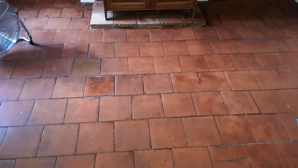 Flood Damaged Quarry Tiled Floor After Restoration Bearwood