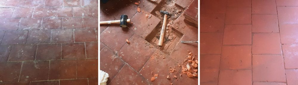 Floor Damaged Quarry Tiled Floor Restoration Bearwood