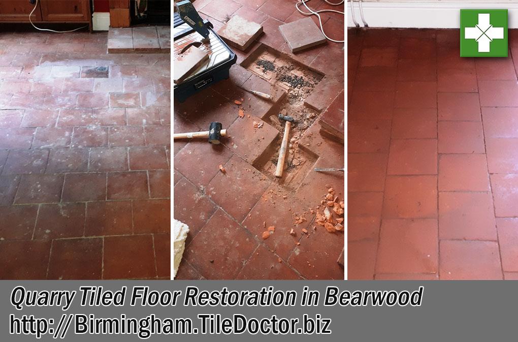 Flood Damaged Quarry Tiled Floor Before After Restoration Bearwood