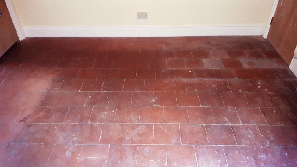 Flood Damaged Quarry Tiled Floor Before Cleaning Bearwood