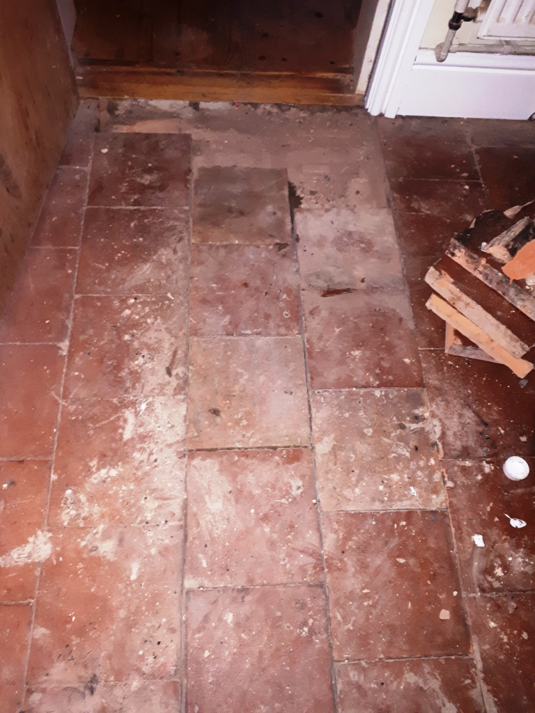 Flood Damaged Quarry Tiled Floor During Repair Bearwood
