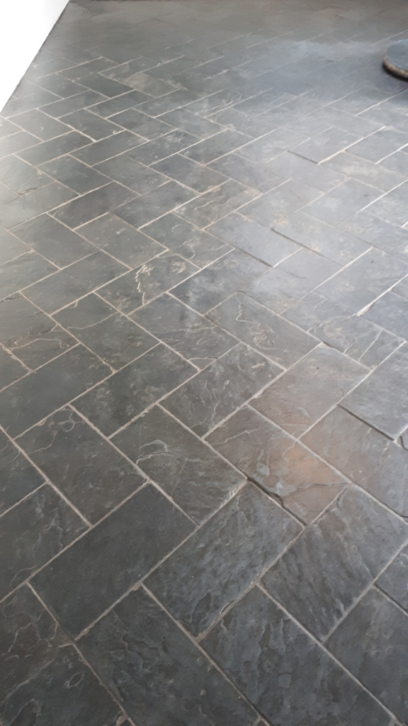 Slate Floor Before Cleaning Moseley