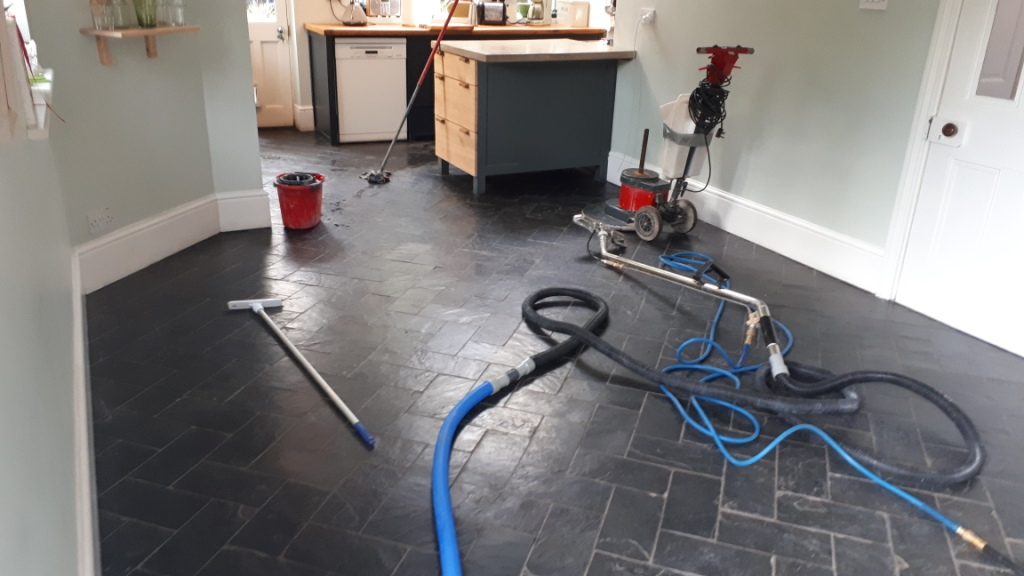 Slate Floor During Cleaning Moseley
