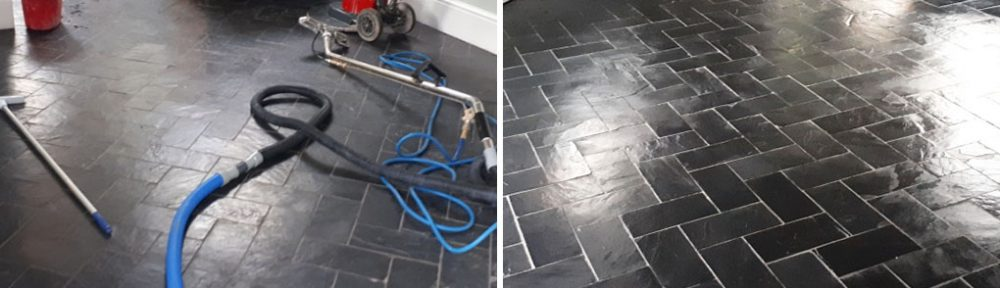 Dull Slate Tiled Floor Stripped and Re-Sealed in Moseley