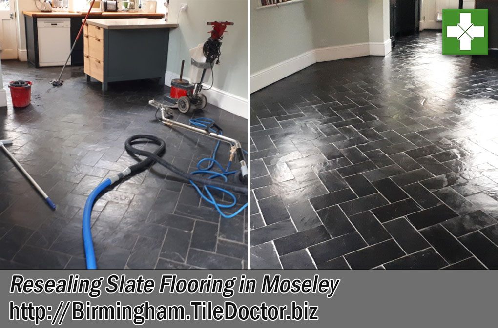 Slate Tiled Floor Before and After Sealing Moseley