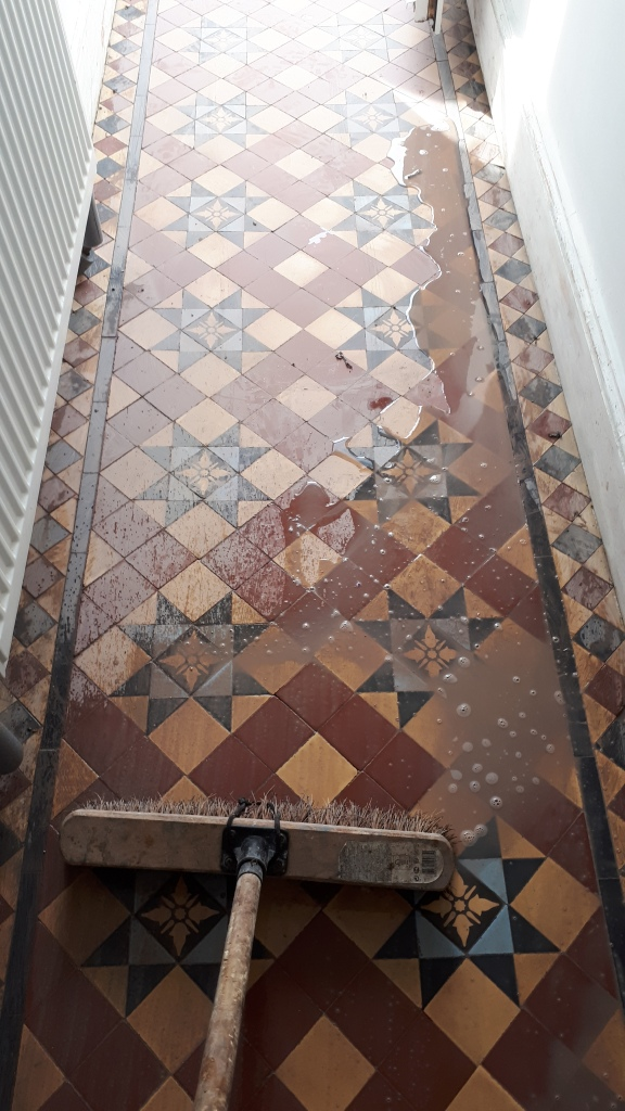 Victorian Tiled Hallway During Restoration Edgbaston