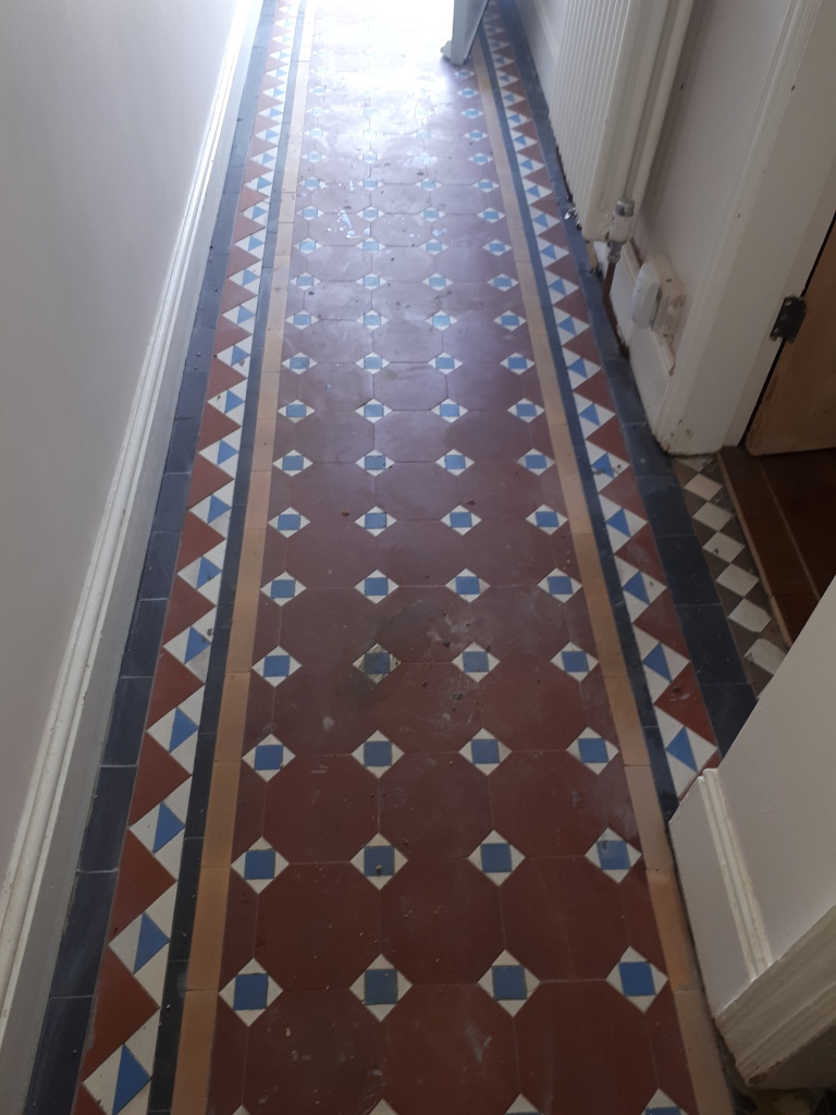 Victorian Hallway Tile Border After Grouting Stourbridge