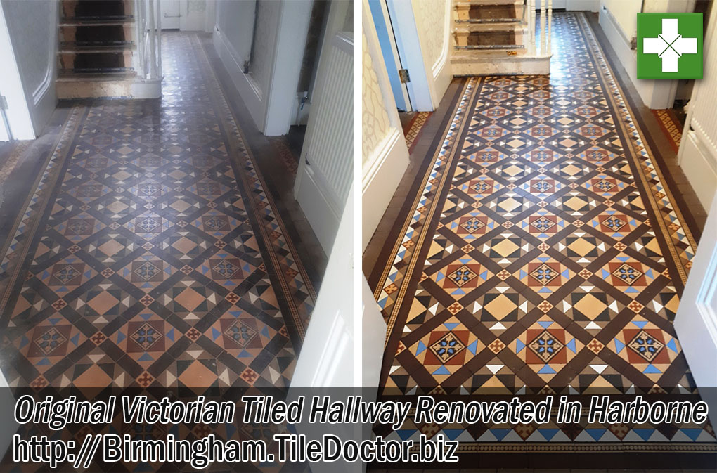 Original Victorian hallway Floor Before After Renovation Harborne