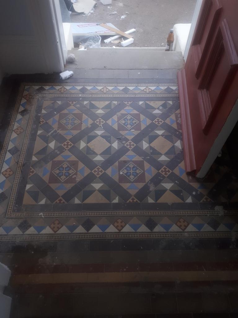 Victorian Tile Hallway Before Renovation Harborne