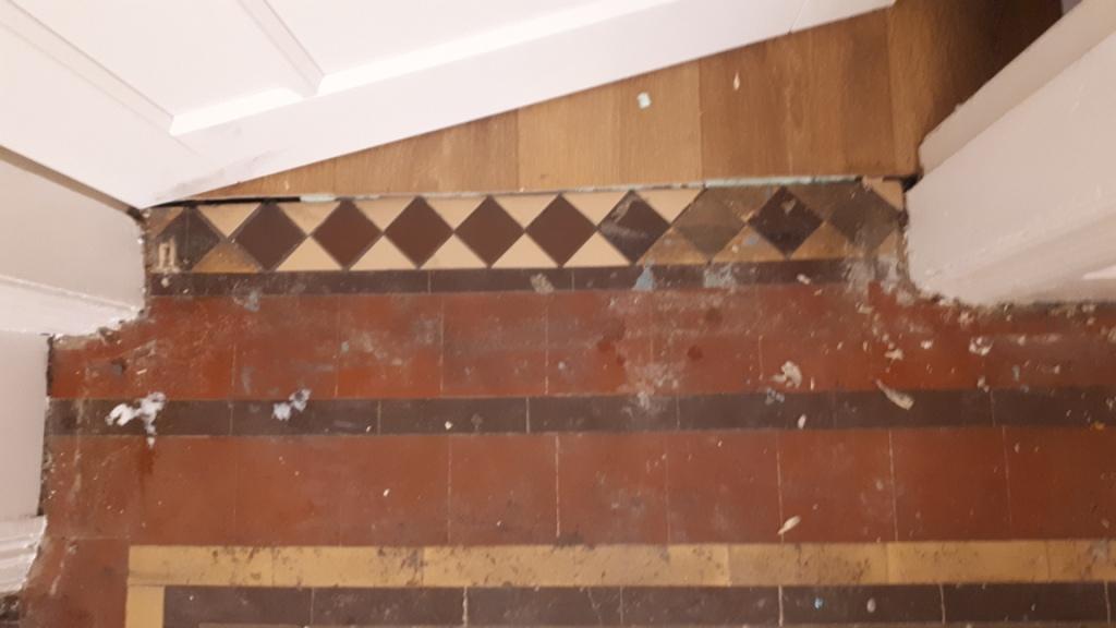 Victorian Tiled Door Threshold Before Restoration Bourneville