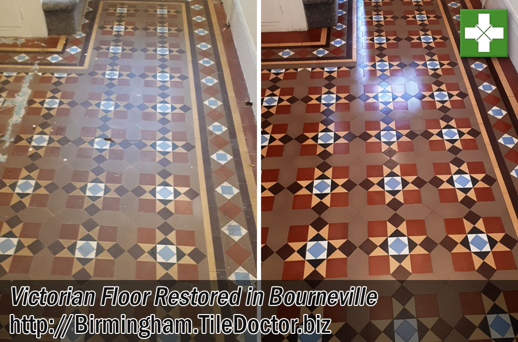 Victorian Tiled Floor Before After Restoration Bourneville