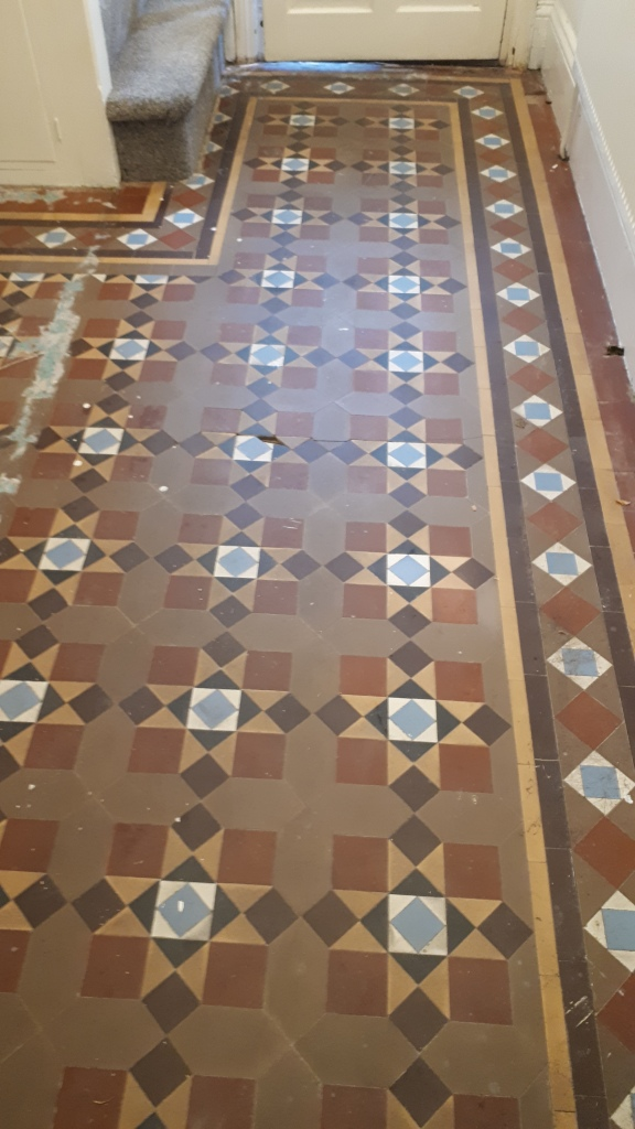 Victorian Tiled Floor Before Restoration Bourneville