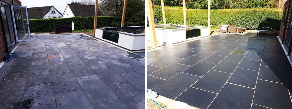 Acid damaged black limestone patio tiles in Bromsgrove
