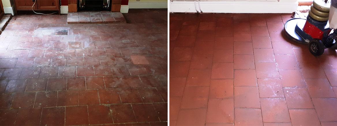 Flood Damaged Quarry Tiled Floor Before and After Restoration Bearwood