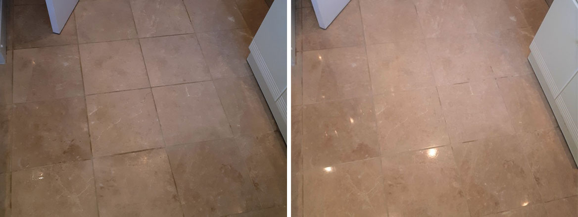 Marble Tiled Bathroom Floor Before and After Cleaning Brownhills Walsall