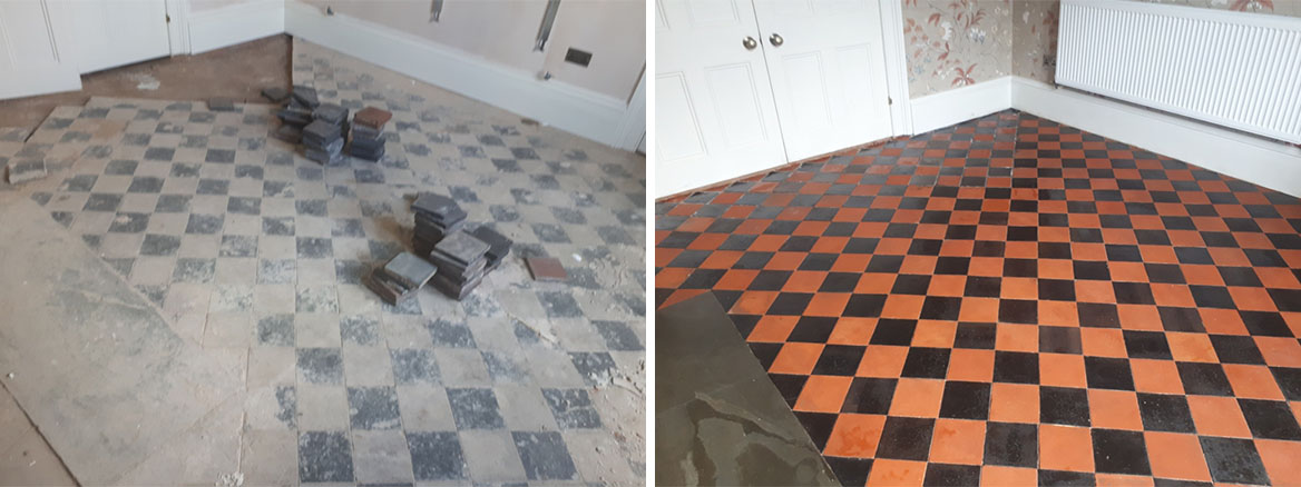Quarry Tiled Floor Before and After Renovation Harborne