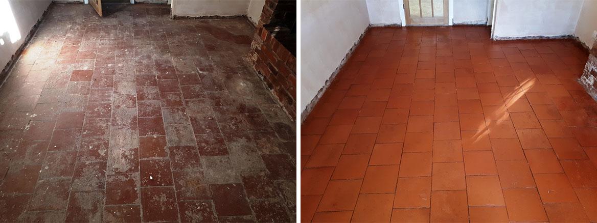 Quarry Tiled Floor Before and After Restoration Rednal