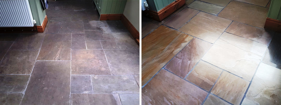 Sandstone Floor Before and After Sealing Wolverhampton