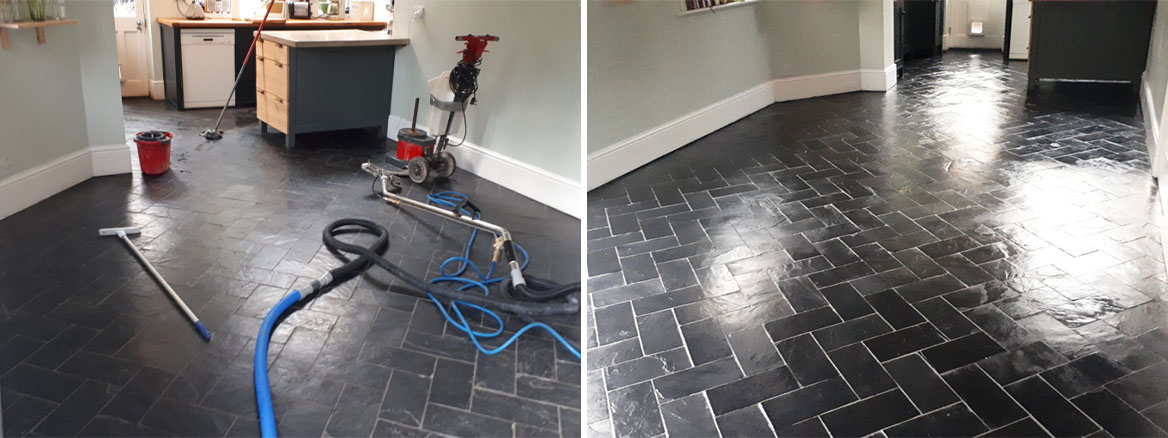 Slate Floor Before and After Sealing Moseley