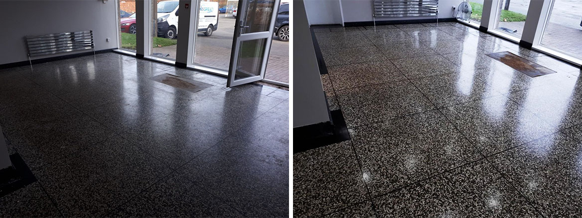 Terrazzo Floor Before and After Cleaning Oldbury West Bromwich
