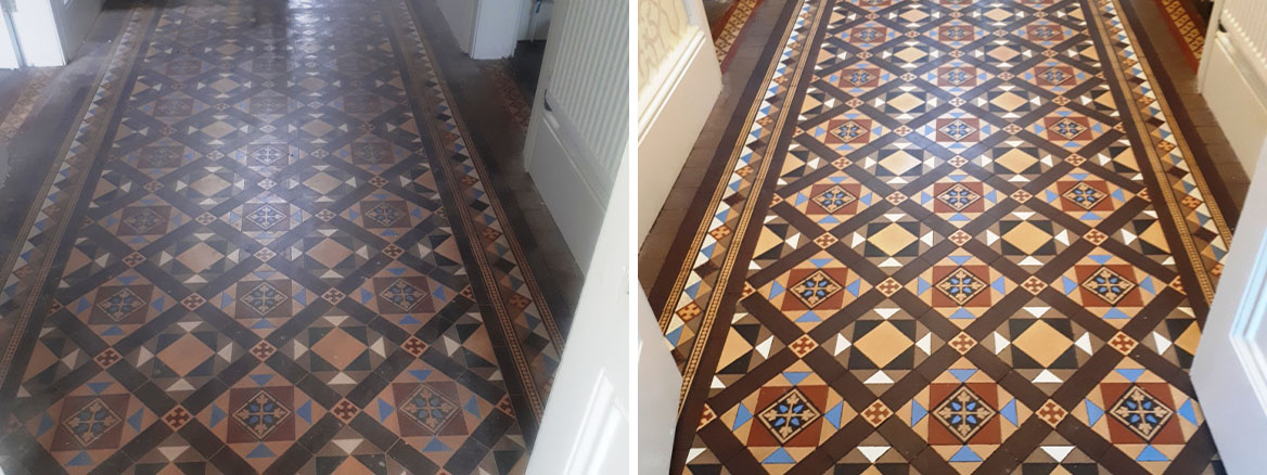 Victorian Tile Hallway Before and After Renovation Harborne