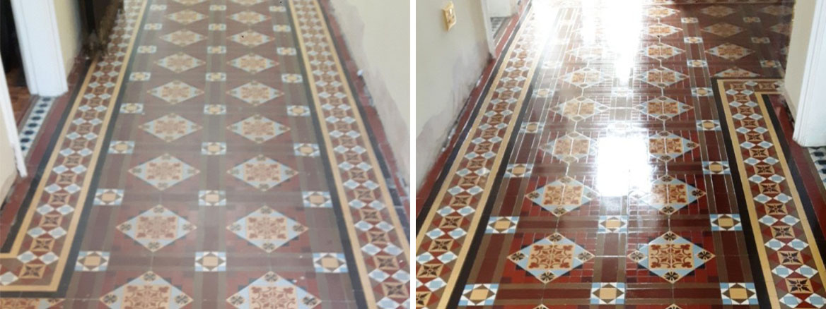 Victorian Tiled Floor Before and After Renovation Warley