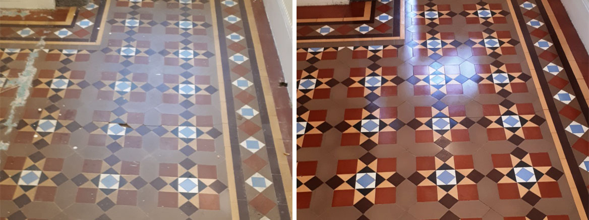 Victorian Tiled Floor Before and After Restoration Bourneville