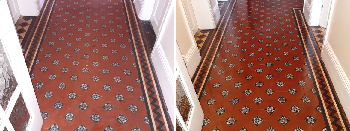 Victorian Tiled Hallway Before and After Restoration Darlaston